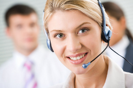 smiling lady with headset